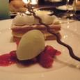ミルフィーユと苺のマリネ ピスタチオアイスクリーム